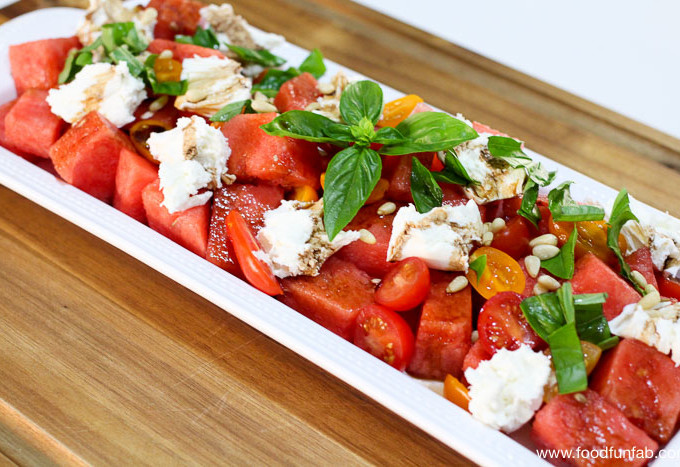 Watermelon Basil Mozzarella Salad